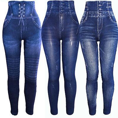 Damen Hochbund Taille Formende Mieder Leggings Miederhose Jeans Look Treggins | eBay