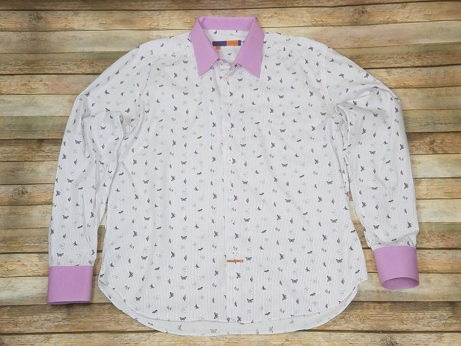 Nodus Masculin Latin Dress Shirt Butterflys Contrasting Collar Cuffs 17.5 44