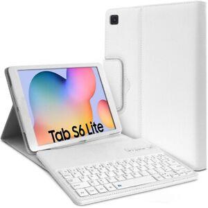 Etui-Blanc-Clavier-Azerty-Bluetooth-pour-Samsung-Galaxy-Tab-S6-Lite-10-4-034-P610