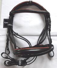 Trense schwarz,engl. RH.,Gr, Warmblut, braun unterlegt, mit Antislipz. Cama
