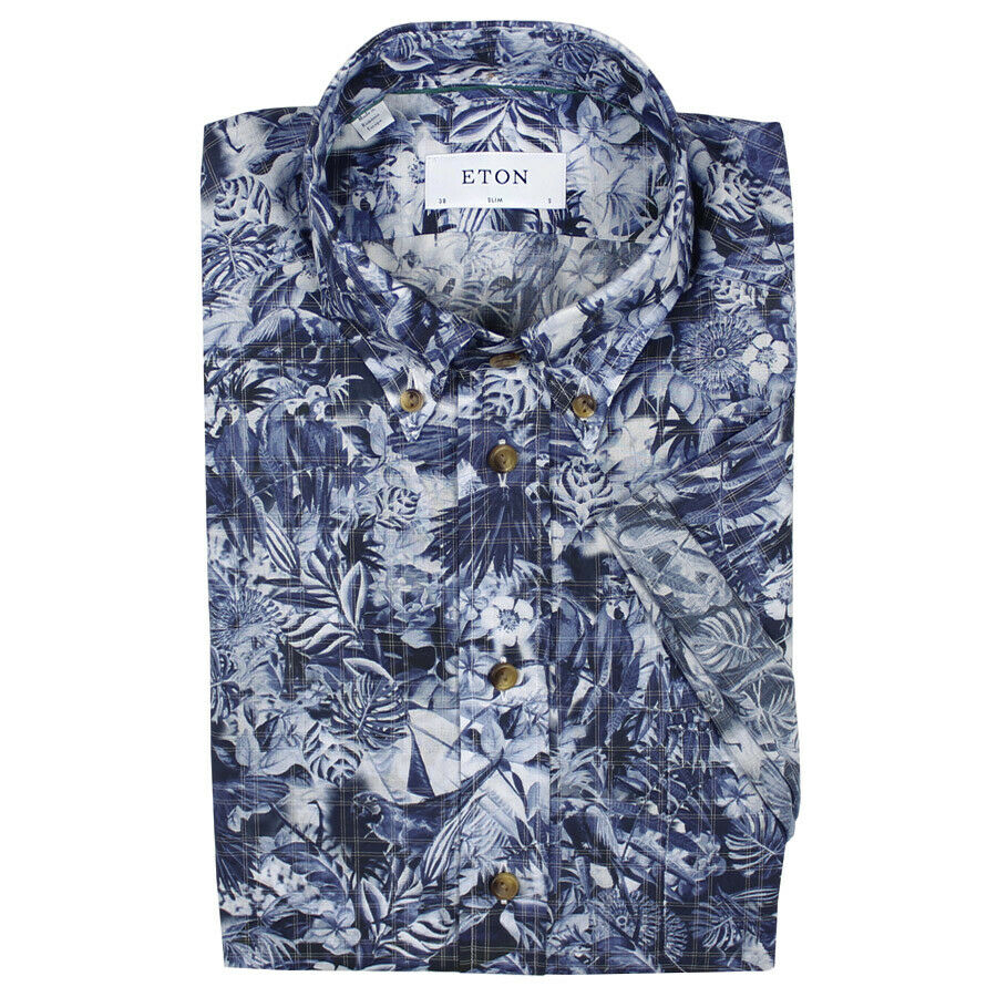 Eton - Slim Fit Floral Superlight SS Shirt - 16  41 - NEW W  TAGS RRP