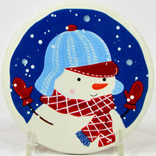 "St. Nicholas Square LET IT SNOW 4.25"" Individual Coaster Snowman Son Blue"