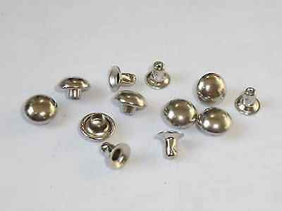 100 Hohlnieten  mit Halbkugelkappe 10x3x8 Silber