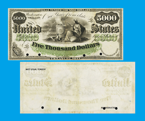 Reproductions USA 5 000 dollars 1864 UNC