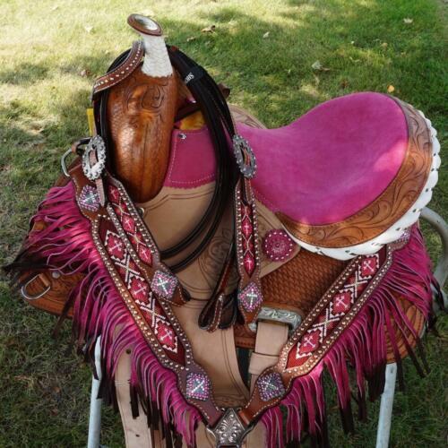 "Popular Youth Trail Barrel 12/"" Pink Saddle Showman Horse Headstall Bp Fringe SET"
