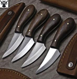 LOT OF 4 CUSTOM HANDMADE D2 TOOL STEEL WALNUT HUNTING SKINNER KNIFE