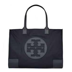 Details About Tory Burch Ella 55228 001 Tote Black Nylon Bag Leather Handles Interior Pockets