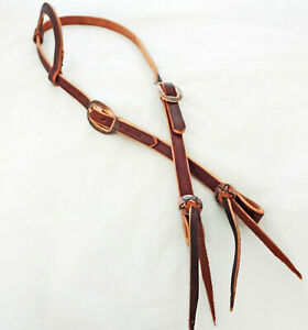 Brown Harness Leather One Ear Headstall Floral Copper Buckles Water Ties Horse