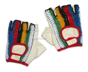 NOS-Vintage-EROICA-Crochet-Knit-Cycling-Gloves-WORLD-CHAMP-STRIPES