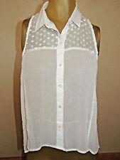 Womens Size Medium M Hollister White Sheer Sleeveless Top Shirt