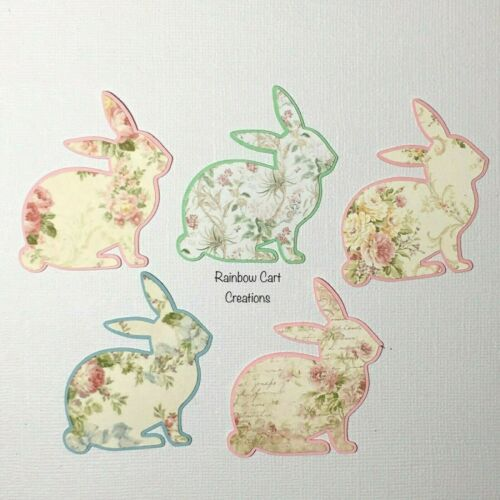 10-15 Bunny Rabbit Floral Die Cuts Embellishments Pre-Made Easter Shabby Chic