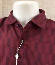 Valentino Uomo Size Small Burgandy Red Long Sleeve Cotton Casual Shirt Men's NWT