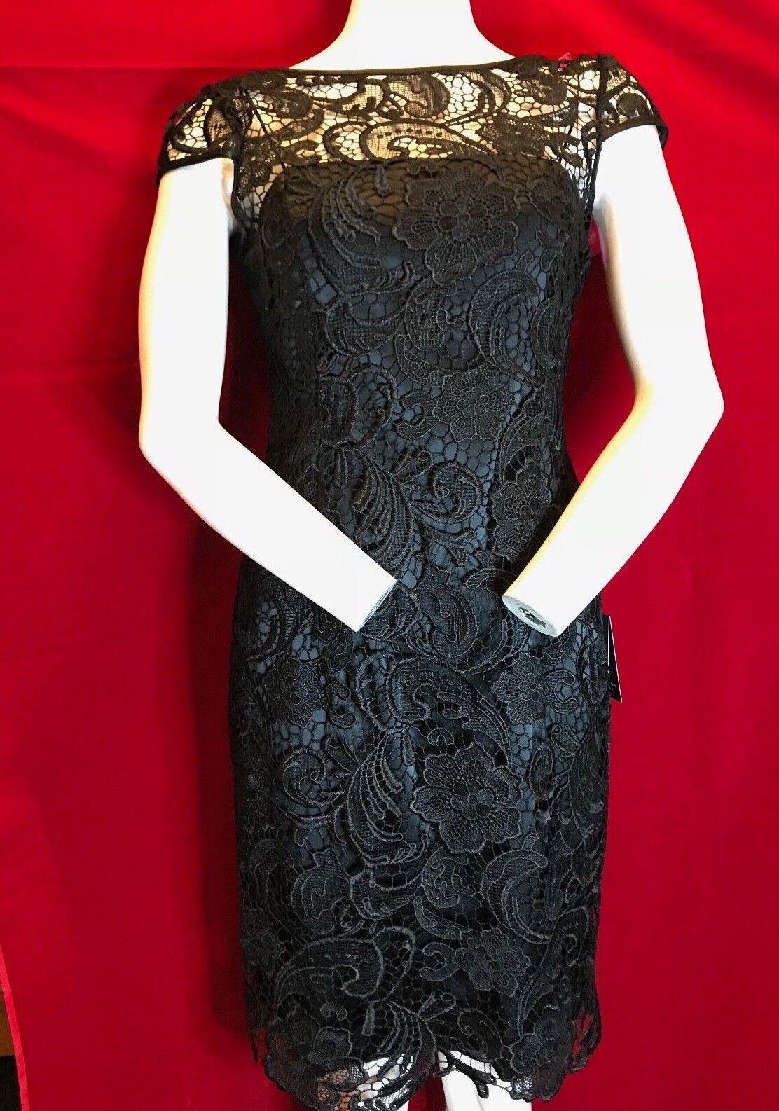 BNWT ADRIANNA PAPELL Cap Sleeve Gupuire schwarz Lace Evening Dress UK 10