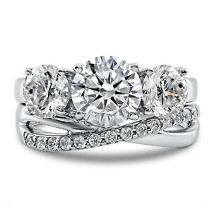 3.93 Ct Round Real Moissanite Engagement Band Set Solid 18K White Gold Size 5 6