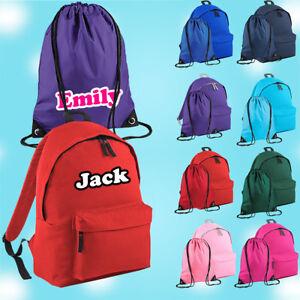 Personalised School Bag , Vinyl Rucksack, Backpack, PE Bag, Kit Bag | Text