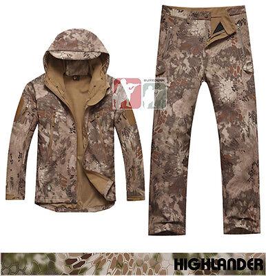 HIGHLANDER Softshell Sharkskin Fleece Jacket Pants TAD Kryptek Hunting Uniform
