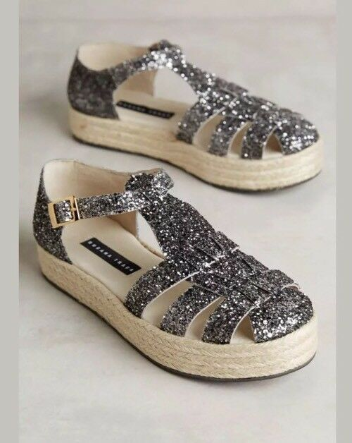 Anthropologie Susana Traca Glitter Flatform Platform Sandals Sz 38 NEW Pewter