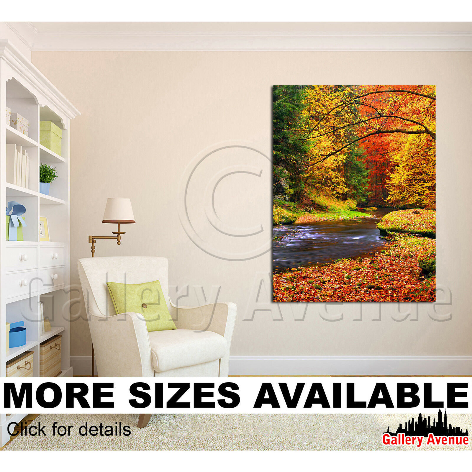 A Wall Art Canvas Picture Print - Autumn leaves Morning River 3.4