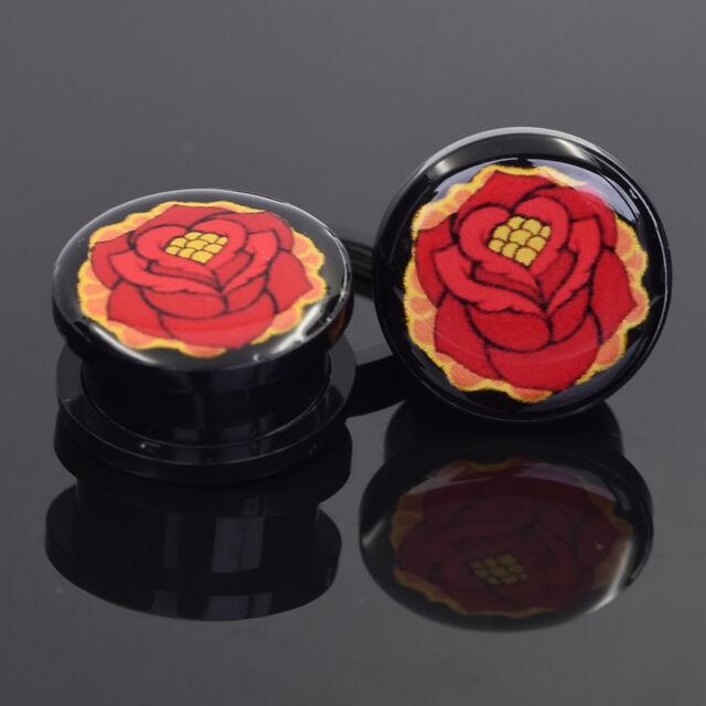 2PCS Fashion Ear Plug Expander Stretcher Acrylic Red Flower Screw Flesh Tunnel