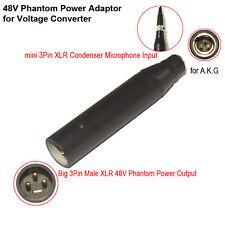 12V-48V PHANTOM POWER 3 PIN XLR ADAPTER for 3 PIN MINI XLR TA3F MICROPHONES
