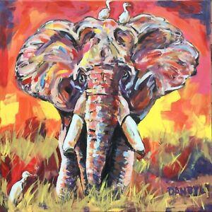 Elephant-Original-Fine-Art-PAINTING-DAN-BYL-Animal-Contemporary-Modern-4x4ft