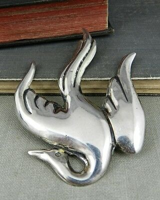 Signed Mexico Sterling Silver Flying Bird Pin / Brooch