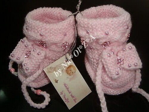 NEW BABY GIRL HANDMADE KNITTED CASUAL ACRYLIC WARM BOOTS BOOTIES