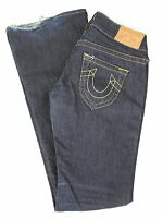 True Religion Womens Dark Wash Denim Jeans Leather Patch Boot Cut Size 25