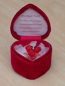 Red Roses Heart Box Love Verse Glass Red Love Flowers Valentines