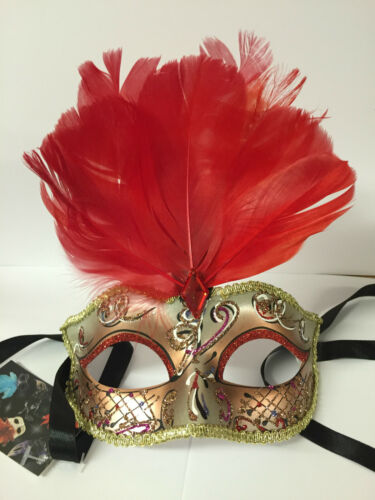 Gold Masquerade Fancy Dress Costume Mardis Gras  Eye Mask ~ RED Feather 27569