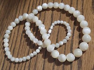 Necklace-VTG-Mother-of-Pearl-MOP-Shell-Graduated-Round-Beads-1950-039-s-60-039-s-MCM-18-034
