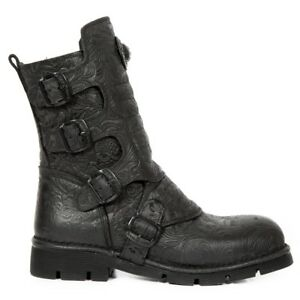 Rock Boots Black Cow Newrock Leather Unisex M New Military 373x Punk s24 Heavy A5q4Ugx