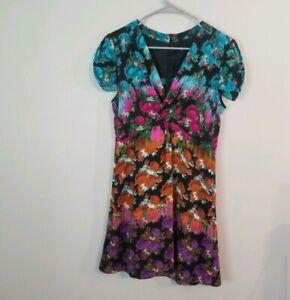 Nanette-Lepore-Floral-Silk-Wrap-Dress-Sz-6-Cap-Sleeve