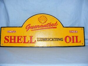 Shell Oil Sign Cast Iron Domed Advertising Sign Garage Man Cave Wall Gate LARGE