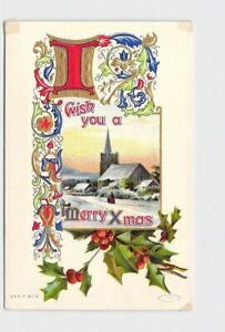 PPC-POSTCARD-CHRISTMAS-MERRY-XMAS-SNOW-COVERED-CHURCH-HOLLY-GOLD-EMBOSSED