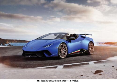 Super Sports Car Lamborghini Blue Wallpaper Mural Photo Poster Decoration