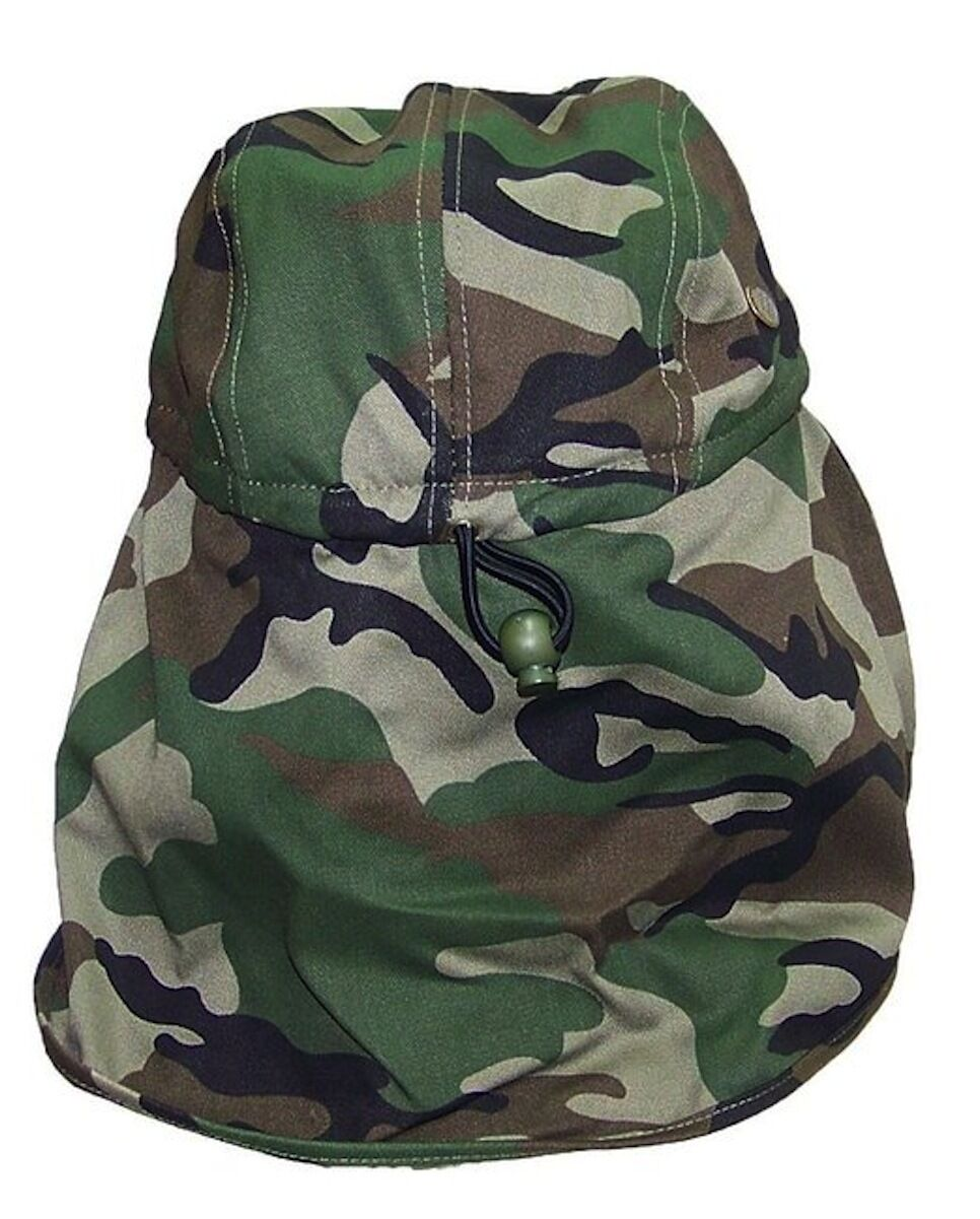 Youth Kids Sun Flap Hat with Neck Cover Curved Cotton Cap 8 Colors Solid /& Camo