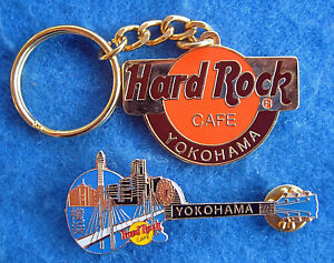 Yokohama-Japonais-Orange-Logo-Porte-Cle-amp-Ville-Skyline-Guitare-Hard-Rock-Cafe