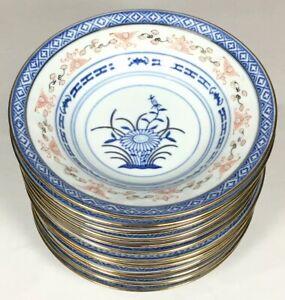 4x-ZHONGGUO-JINGDEZHEN-RICE-EYE-CHINA-GOLD-FINGER-BOWL-DISH-6-034-BLUE-LOTUS-FLOWER