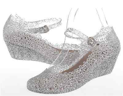 Women Soft Candy Rubber Wedge Heel Sandals High-heel Crystals Shoes