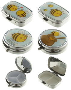 Bumble-Bee-Honey-Pot-2-3-Day-Pill-Box-Storage-Tin-Tablet-Medicine-Case-Gift