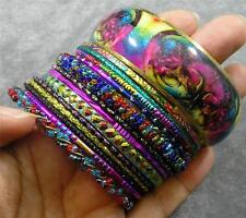 BOHO Glass Resin Crystal Steel Aluminum Brass Rainbow 14 Bangle Bracelet Set