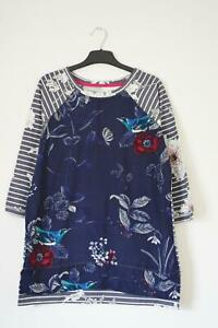 NEW-EX-JOULES-UK-SIZE-10-12-NAVY-FLORAL-STRIPE-PART-JERSEY-PRINT-BLOUSE-TOP