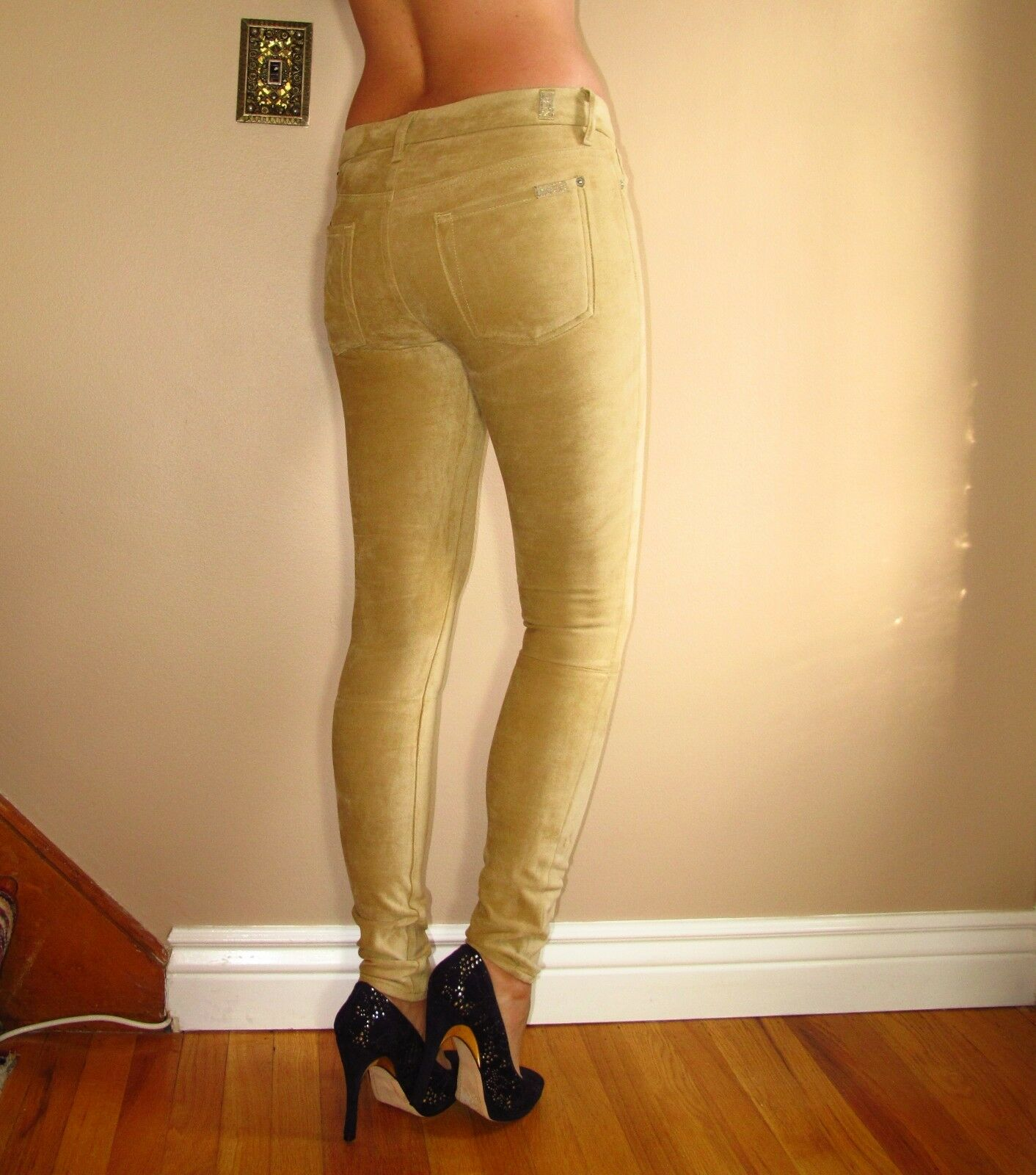 198 Seven 7 For All Mankind Sueded Skinny Jeans Leggings Sand Beige 24 Fits 23