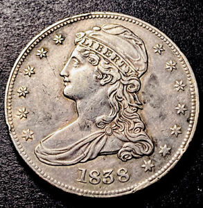 1838 Capped Bust Silver Half Dollar 50c Reeded Edge GR-14 R-3 High Grade Cud