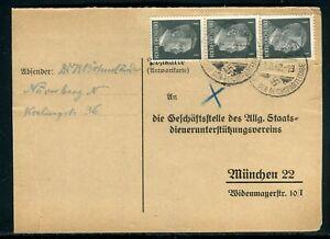Actif Allemagne - Carte De Correspondance De Nürmberg Pour München En 1942 - Réf M85 Nombreux Dans La VariéTé