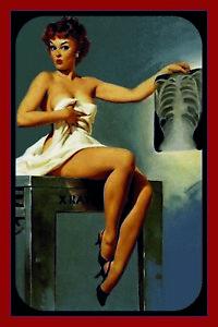 Pin-Up-Girl-Rontg-Fr-Image-Panneau-Metallique-Plaque-Voute-en-Etain-20-X-30-CM