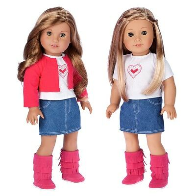 Fuchsia Heart - 4 Piece Doll Outfit for American Girl, Jacket Skirt T-Shirt Boot