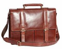 Mens Genuine Brown Leather Briefcase Top Quality Executive Laptop Office Bag