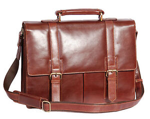 Image is loading Mens-Genuine-BROWN-Leather-Briefcase-Business-Laptop-A4- eae460341ca9e